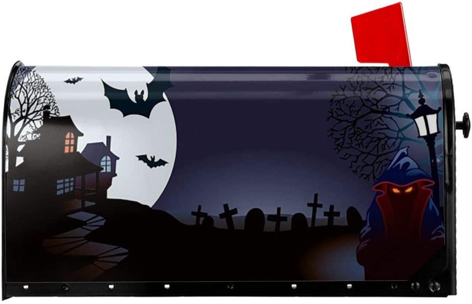 KiuLoam Halloween Night Magnetic Mailbox Cover Standard Size 25.5''x21'' for Garden