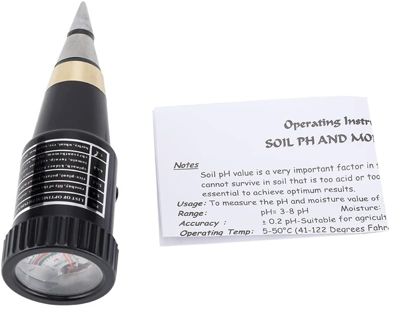 Pointed Soil Instrument, 2 in 1 Short PH PH Tester Humidity Tip Soil Meter PH Humidity Tester