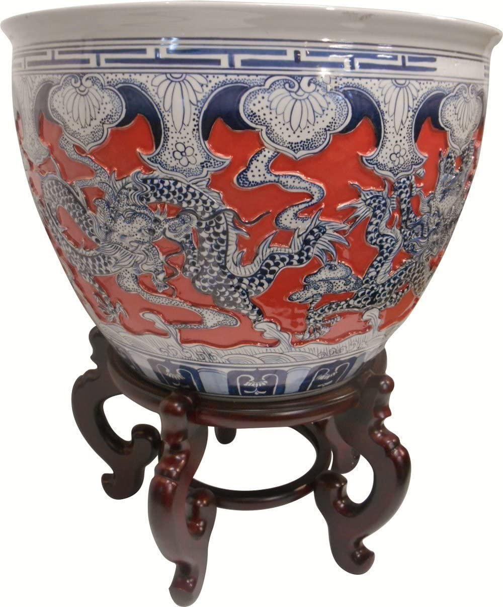 Oriental Furniture Warehouse Carved Chinese Porcelain Dragon Fishbowl Imperial Coral Glaze