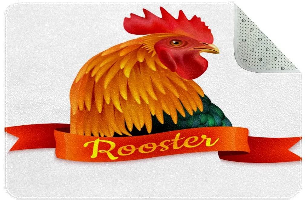 Red Rooster Head Colorful Rug Indoor/Outdoor Easy Clean Non Slip Backing Entry Way Doormat for Patio, Front Door, Entry Garage All Weather Exterior Doors