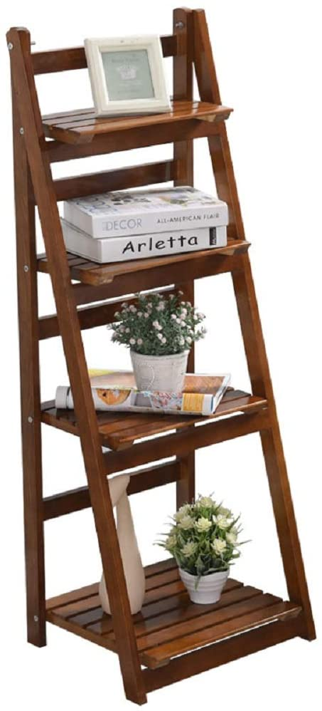 Wood Plant Stand, Flower Pot Holder Display Shelf for Home Patio Garden Living Room, Outdoor Indoor Plant Display Rack (4 Layers Foldable)