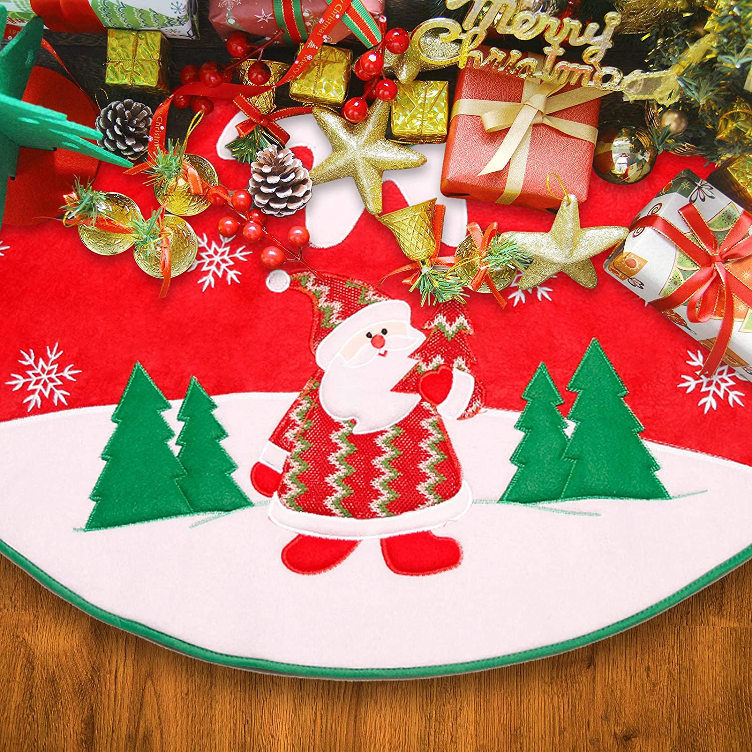 Christmas Tree Skirt, Rustic Merry Christmas Decorations Red Small Xmas Tree Collar Christmas Party Decor,Snowflake Creative Vintage Christmas Tree Decor for Farmhouse Fireplace Holiday Party, 35 inch
