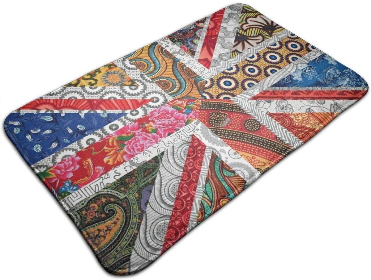 NiYoung Premium Super Absorbent Doormat Non Slip Union Jack Flag UK Mandala Art Door Mat for Bedroom Living Room Kitchen Bathroom Rug Machine Washable Carpet, 19.5
