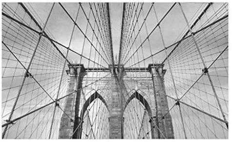 Lunarable Landscape Doormat, USA New York Brooklyn Bridge Cityscape Scenery Photo Print, Decorative Polyester Floor Mat with Non-Skid Backing, 30