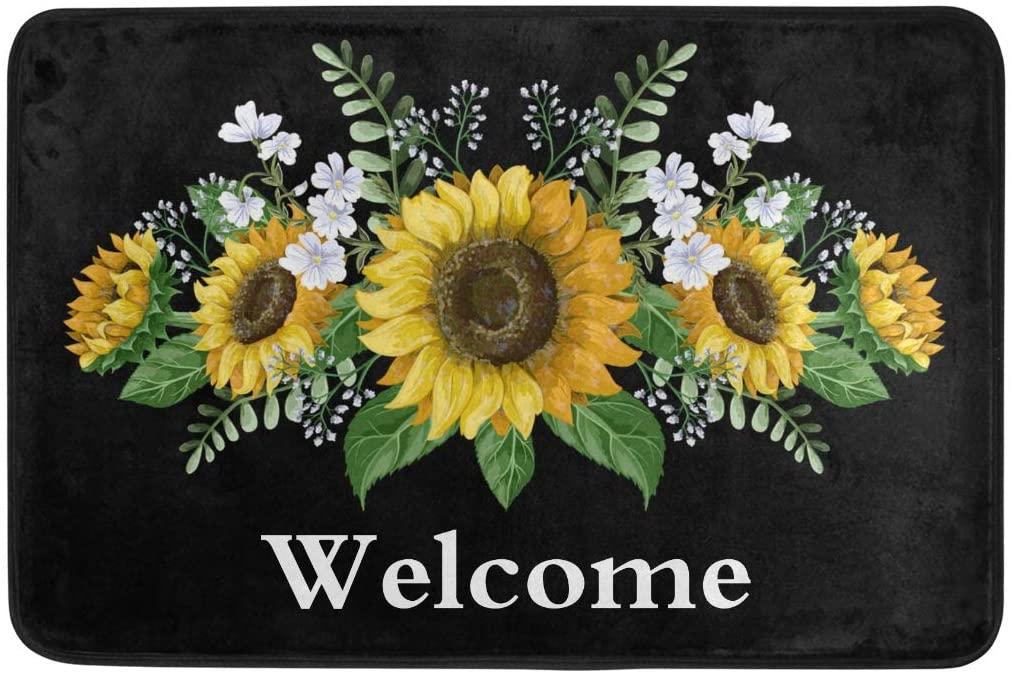 Glaphy Sunflowers Welcome Door Mats Non-Slip Doormat Absorbent Area Rugs Home Front Door Bathroom Indoor Decor, Modern Art Floor Mat 23.6x15.7 inch