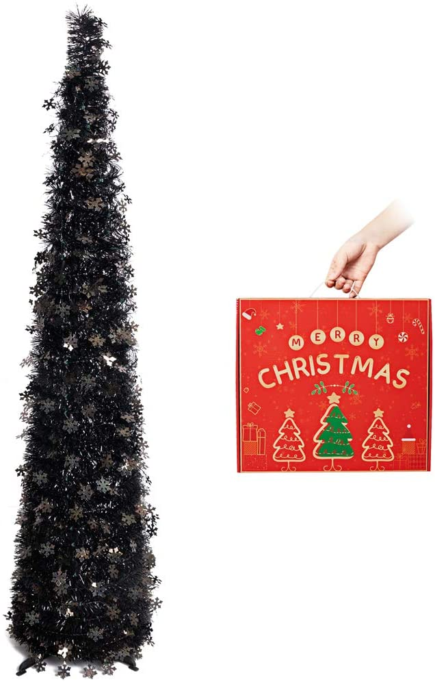 N&T NIETING Christmas Tree, 5ft Collapsible Pop Up Black Snowflakes Tinsel Christmas Tree Coastal Christmas Tree for Holiday Decorations, Home Display, Office Decor, Halloween Decoration