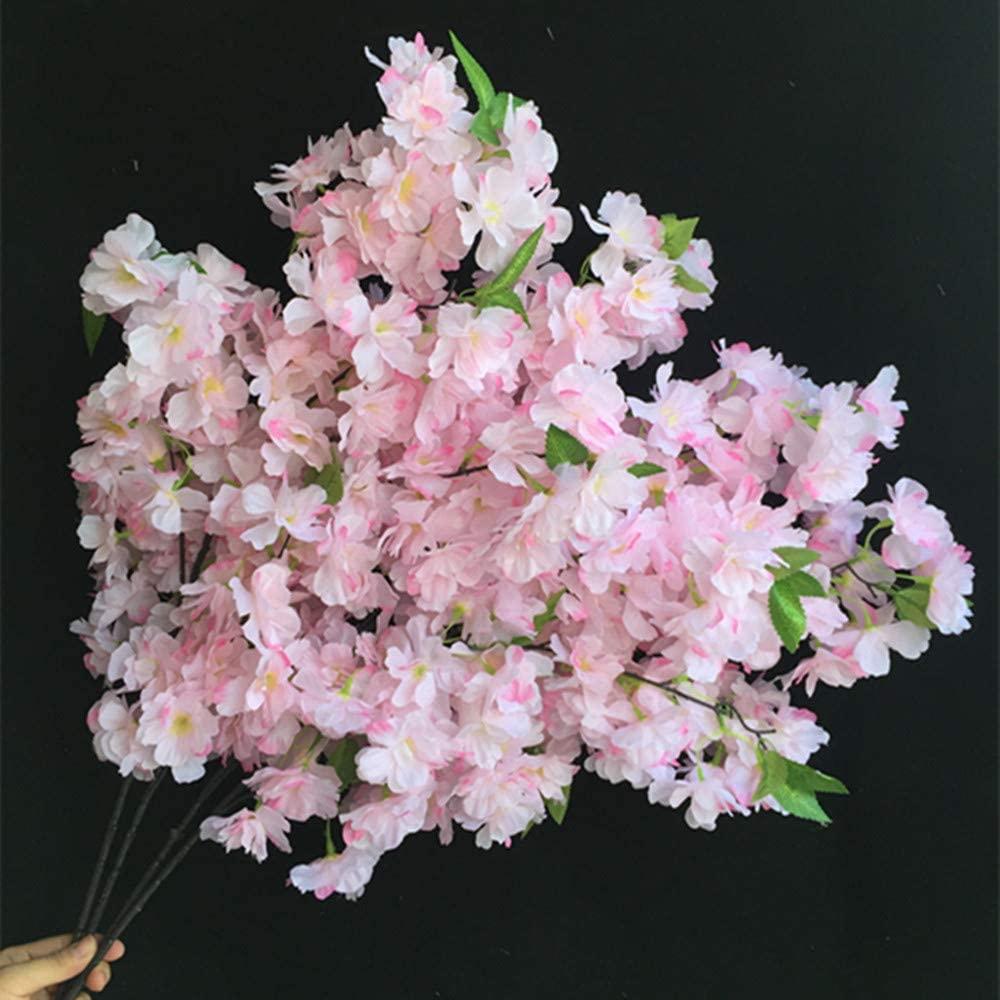jiumengya 10pcs Silk Romantic Cherry Flower Begonia Cherry Tree Branches Fake Long Stem Pleiopetalous Sakura for Wedding Party Home Artificial Decorative Flowers (Pale Pink)