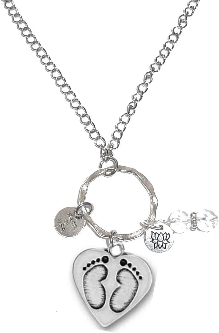Hidden Hollow Beads Rear View Mirror Car Charm Ornament, Sun Catcher, Hanging Pendent, Stainless Steel Chain (Baby Feet)