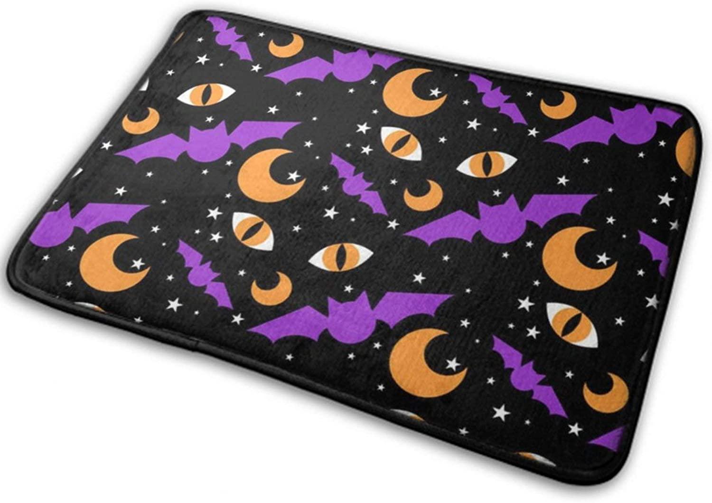 NiYoung Halloween Front Door Mat Outdoor Rugs (15.8 Inchx23.6 Inch) Funny Ultra Soft Flannel - Happy Halloween Black Cat Eyes Bats Moon Pattern