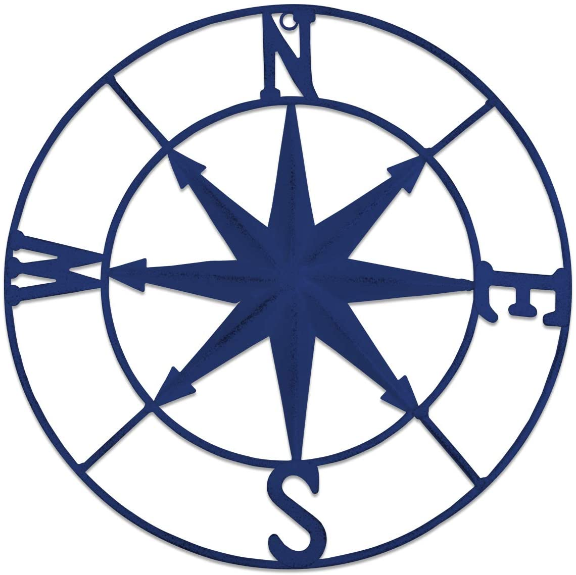 YiYa Distressed Metal Compass Mural Decoration Nautical Decoration Bedroom Living Room Garden Office Wall Hanging Beach Theme Home Decoration (Blue)