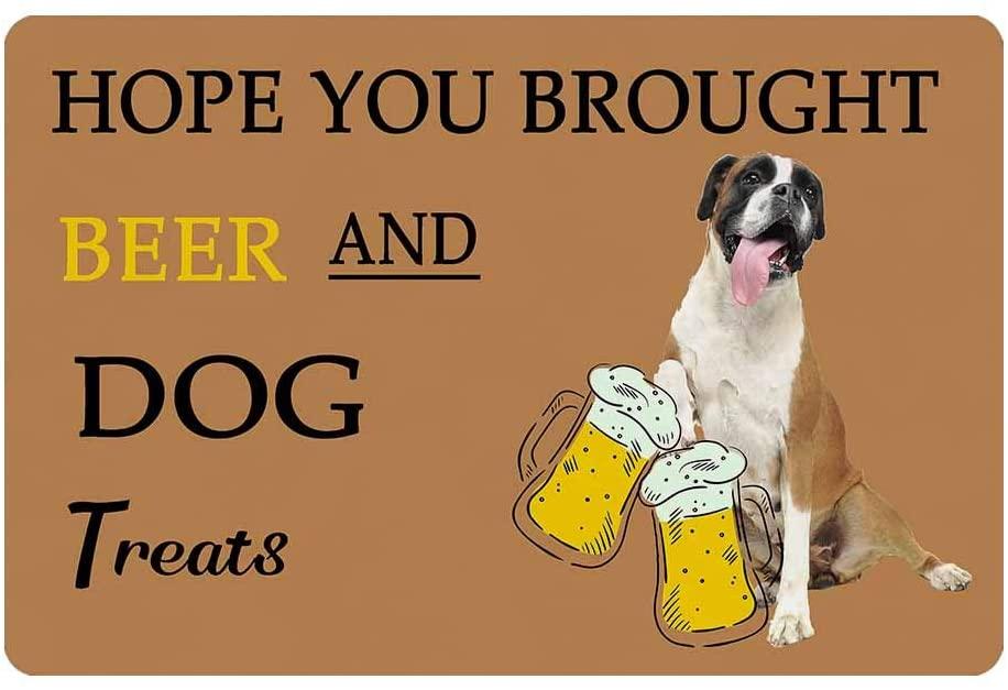 LOSARON Custom Family Name Door Mat Welcome Doormat Bathroom Rug Floor Rug Brought Beer and Dog Treats 24 x 16 inches