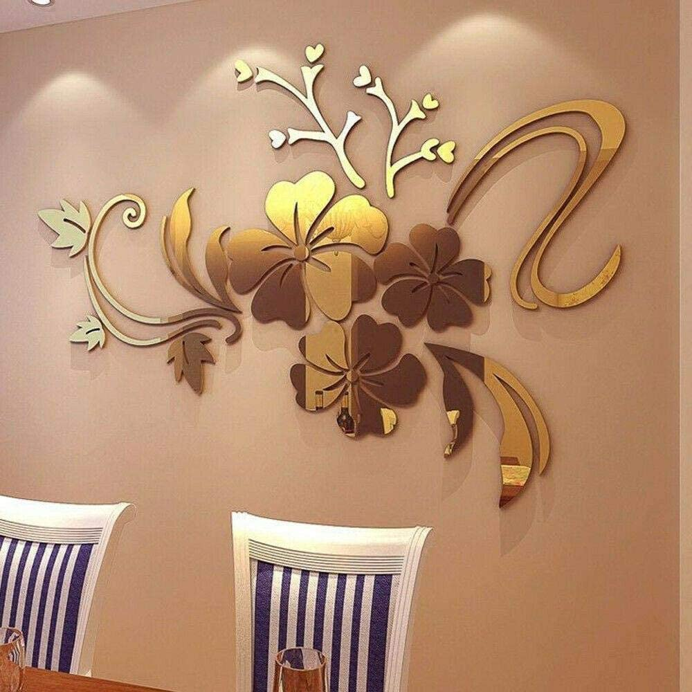 Brnad Lawsony 3D Mural Mirror Floral Wall Sticker Acrylic Decal Home Decoration Removable,Gold