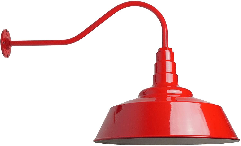 The Standard | 20 Inch Weatherproof Steel Dome | 23 Inch Gooseneck Barn Light (Red)