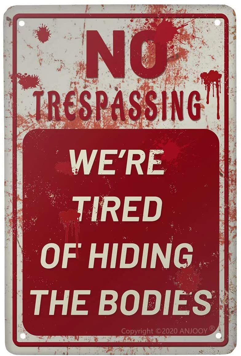 ANJOOY Retro Metal Tin Signs-No Trespassing-Waterproof Outdoor Sign for Fence Field Office Garage Man Cave Wall Decor 8