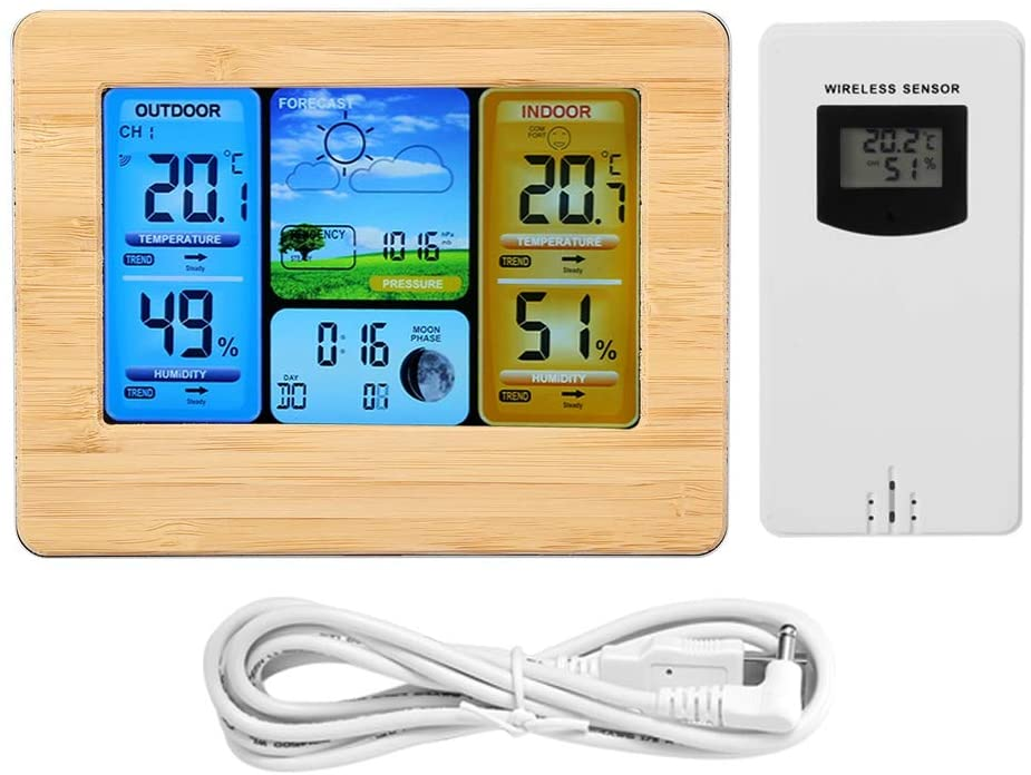 Ginyia LCD Weather Clock, Wall-Mounted or Up-Right Digital Wireless Weather Station Clock, by 2 AA Battery(Without) for Home/Kitchen/Office(Yellow)