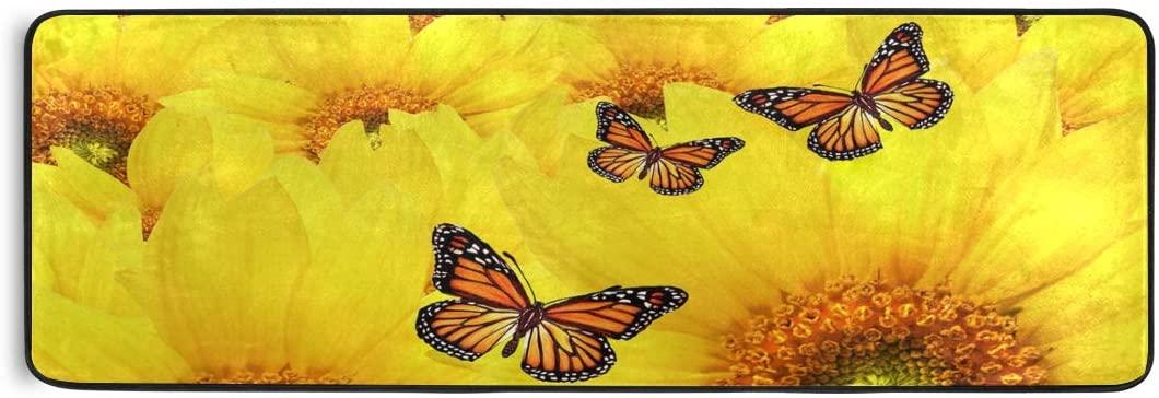 Bolaz Doormat Area Rug Mat Runner Carpet Yellow Sunflowers for Bedroom Front Door Kitchen Indoors Home Decoration 72x24inch