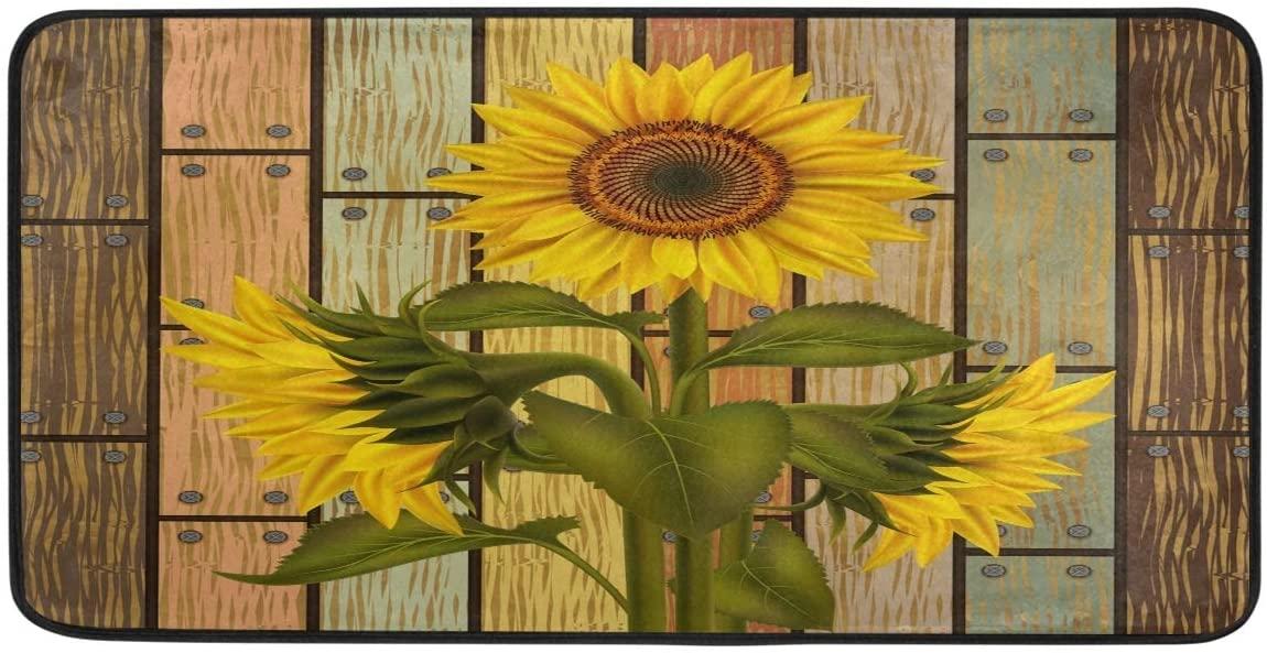 Doormat Area Rug Mat Sunflower On Wooden Board Vintage for Bedroom Front Door Kitchen Indoors Home Decors