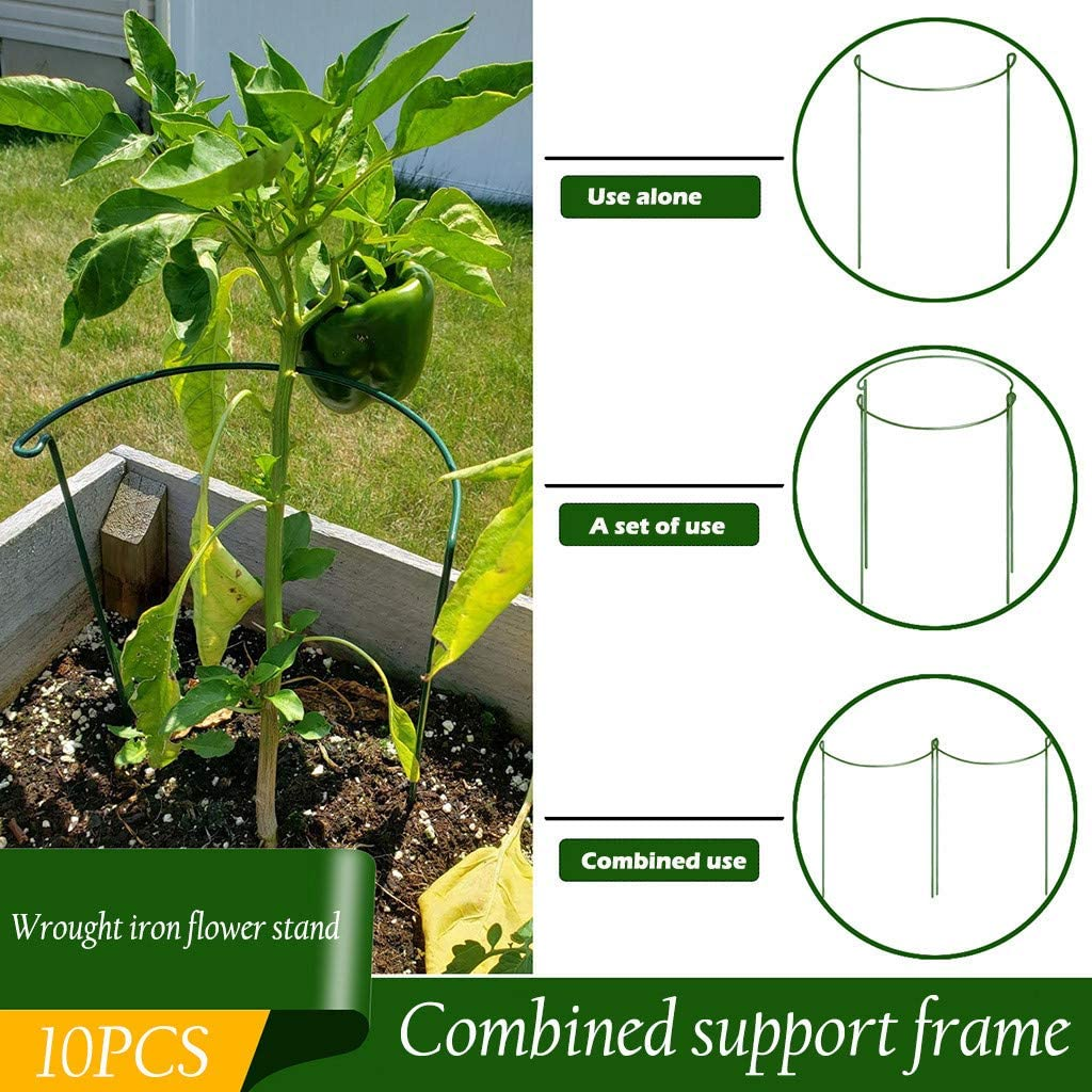 Clearance Sale Plant Cage for The Garden, Garden Plant Holder Plant Supports Metal Ring Plant Stakes, Plants Support for Tomato Peonies Flowers (15.72 x 9.83 in, 10 PCS)