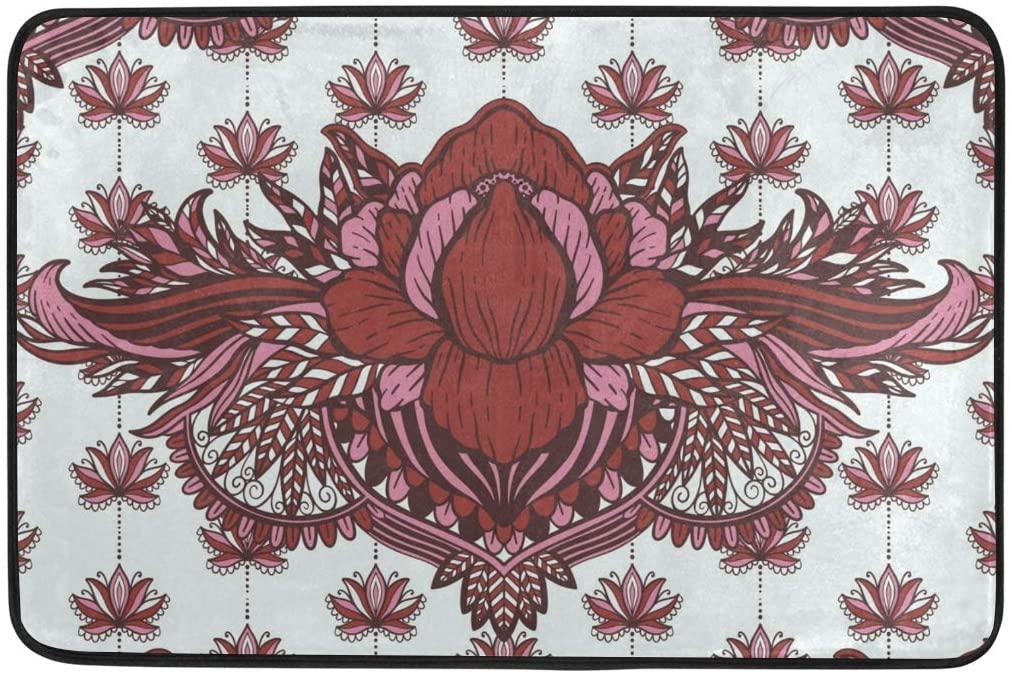 ALAZA Ethnic Lotus Flower Mandala Doormat Non Slip Floor Mat Indoor Outdoor Entrance Bedroom Dorm Door Mat Home Decor 23.6x15.7 Inches