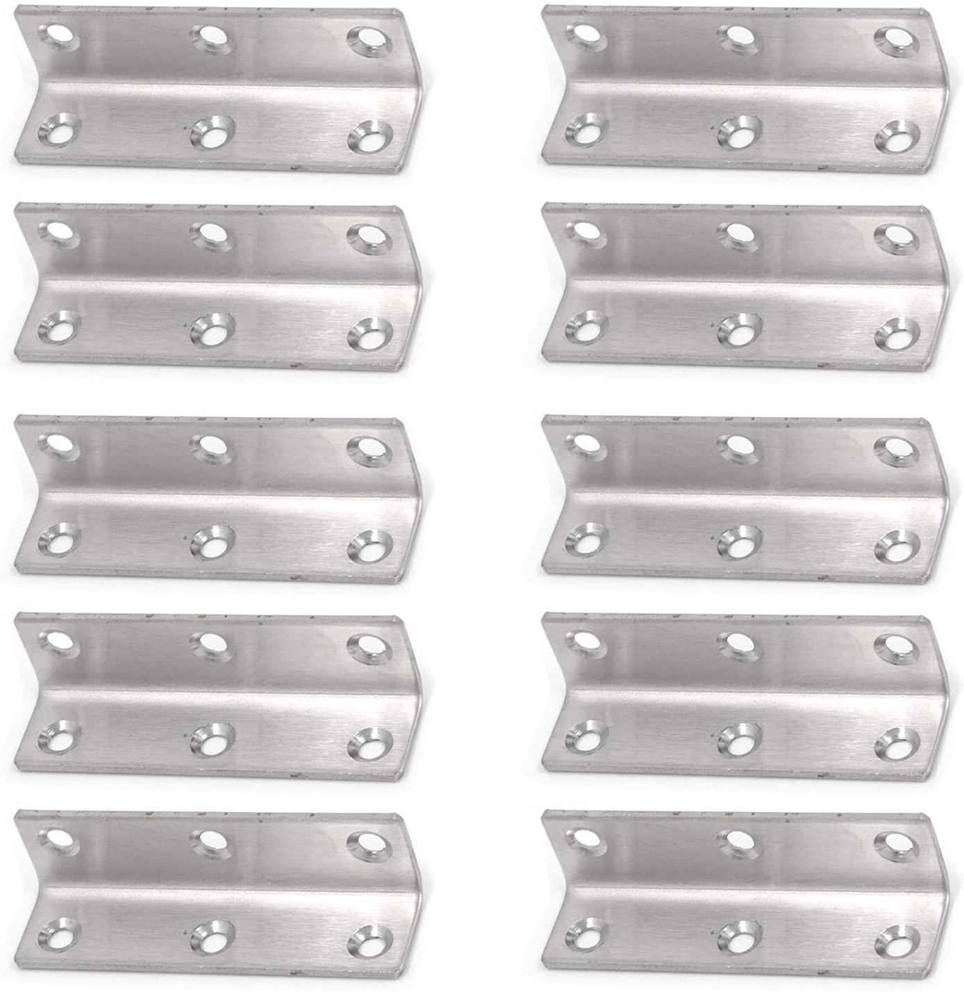 Geesatis 10 Pcs Right Angle Corner Brace Bracket Connector L Shaped Support Shelf Bracket Door Window Corner Brackets with Mounting Screws, 3 x 0.8 inch / 80 x 20mm, Silver