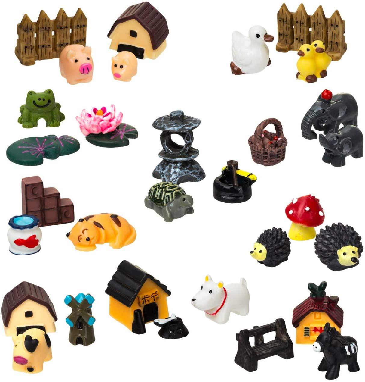 LIHAO 30 Piece Miniature Fairy Garden Ornaments, Miniature Tortoise, Frog, Hedgehog, Villaand More Accessories for Fairy Garden Decoration