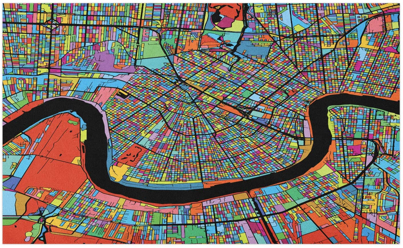 Ambesonne New Orleans Doormat, Colorful Map of City with Mississippi River Districts and Highways New Orleans, Decorative Polyester Floor Mat with Non-Skid Backing, 30