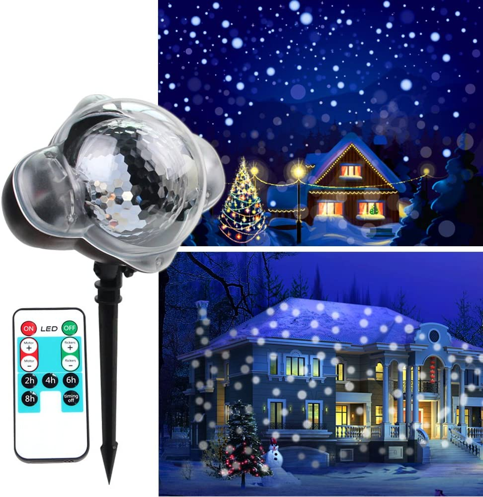 KOOT Christmas Snowfall Light Rotating White Snowflake Projector Waterproof Outdoor Indoor with Wireless Remote for Holiday Xmas Halloween Party Wedding Patio and Garden