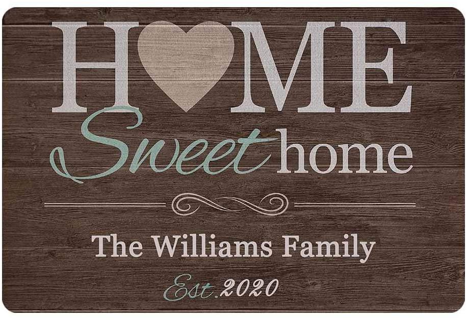 MyPupSocks Custom Doormats Funny Floor Mat Doormat Text Sweet Home Family Name Est Year Personalized Rubber Door Mat Name Doormat 24
