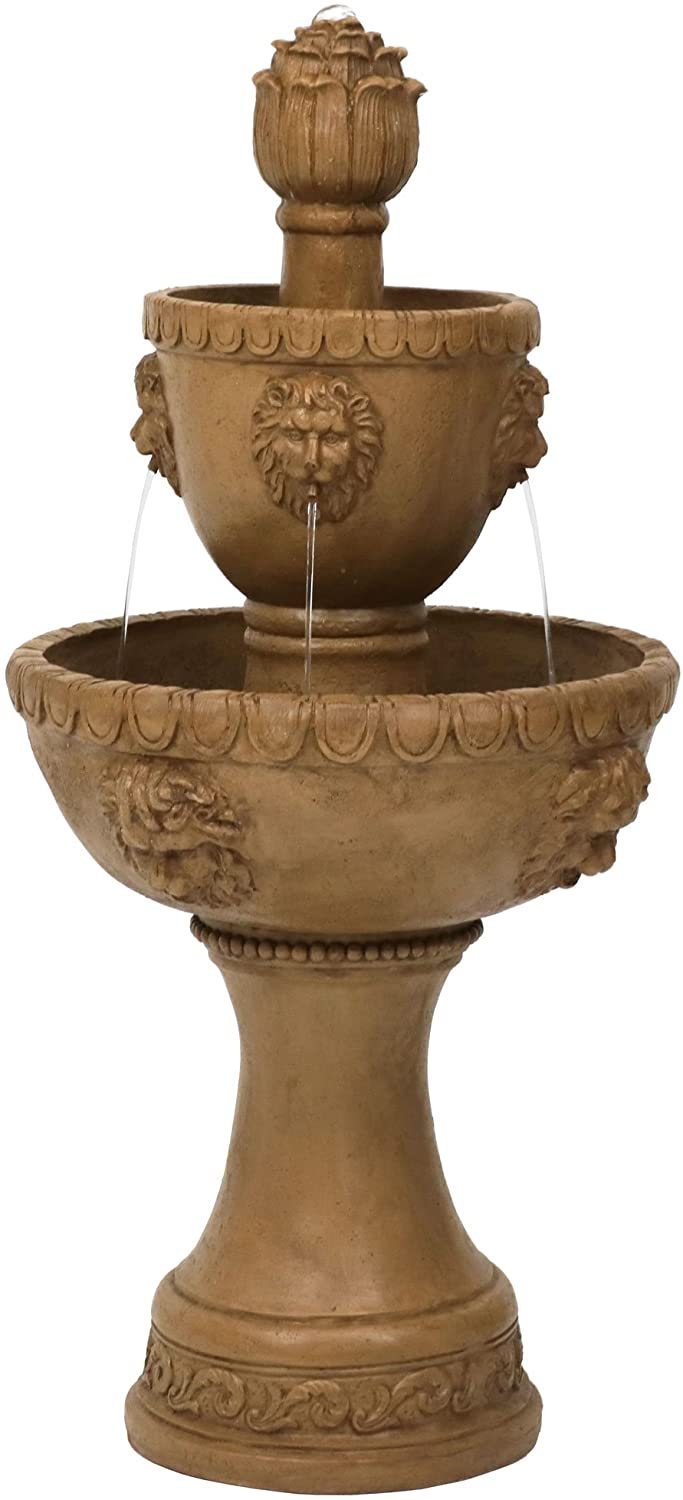 Sunnydaze Lion Head Two Tier Water Fountain - Large Outdoor Waterfall Fountain for The Backyard, Patio, Garden - 41 Inch Tall