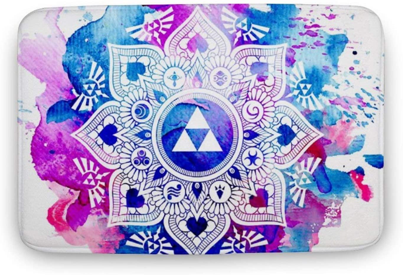 QSMX Legend of A Zelda Mandala Outdoor Rug Door Mat - Non-Slip House Carpet for Front Porch/Patio - Home Decoration Doormats - Coral Velvet Entry Way Floor Mats, 20
