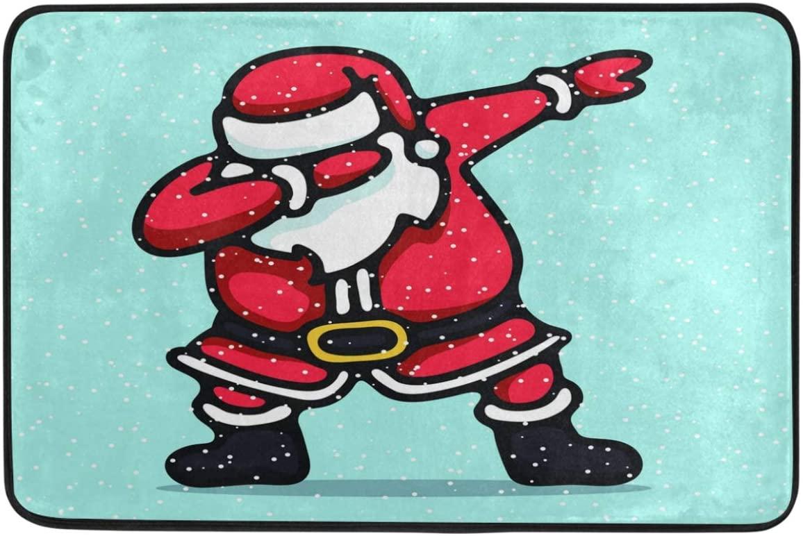 Christmas Decorative Doormat Home Decor Santa Claus Dabbing Dancing Hip Pop Welcome Indoor Outdoor Entrance Bathroom Floor Mats Non Slip Washable Winter Hoilday Pet Food Mat, 23.6 x 15.7 inch