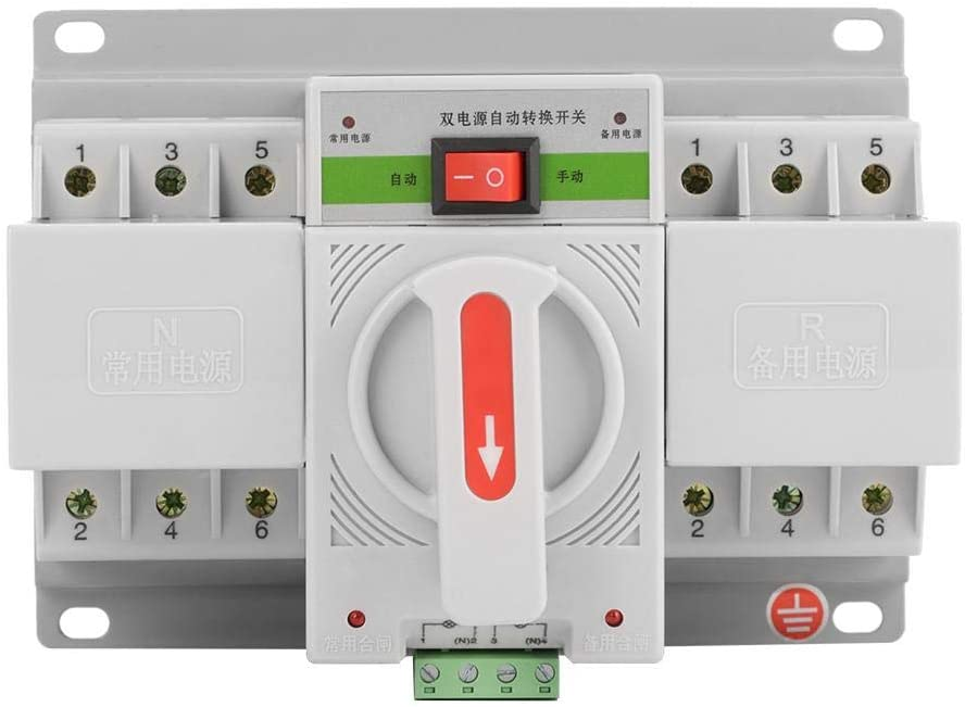 Mootea Transfer Switch,1pc 220V 63A 3P Mini Intelligent Dual Power Automatic Transfer Switch Circuit Breaker