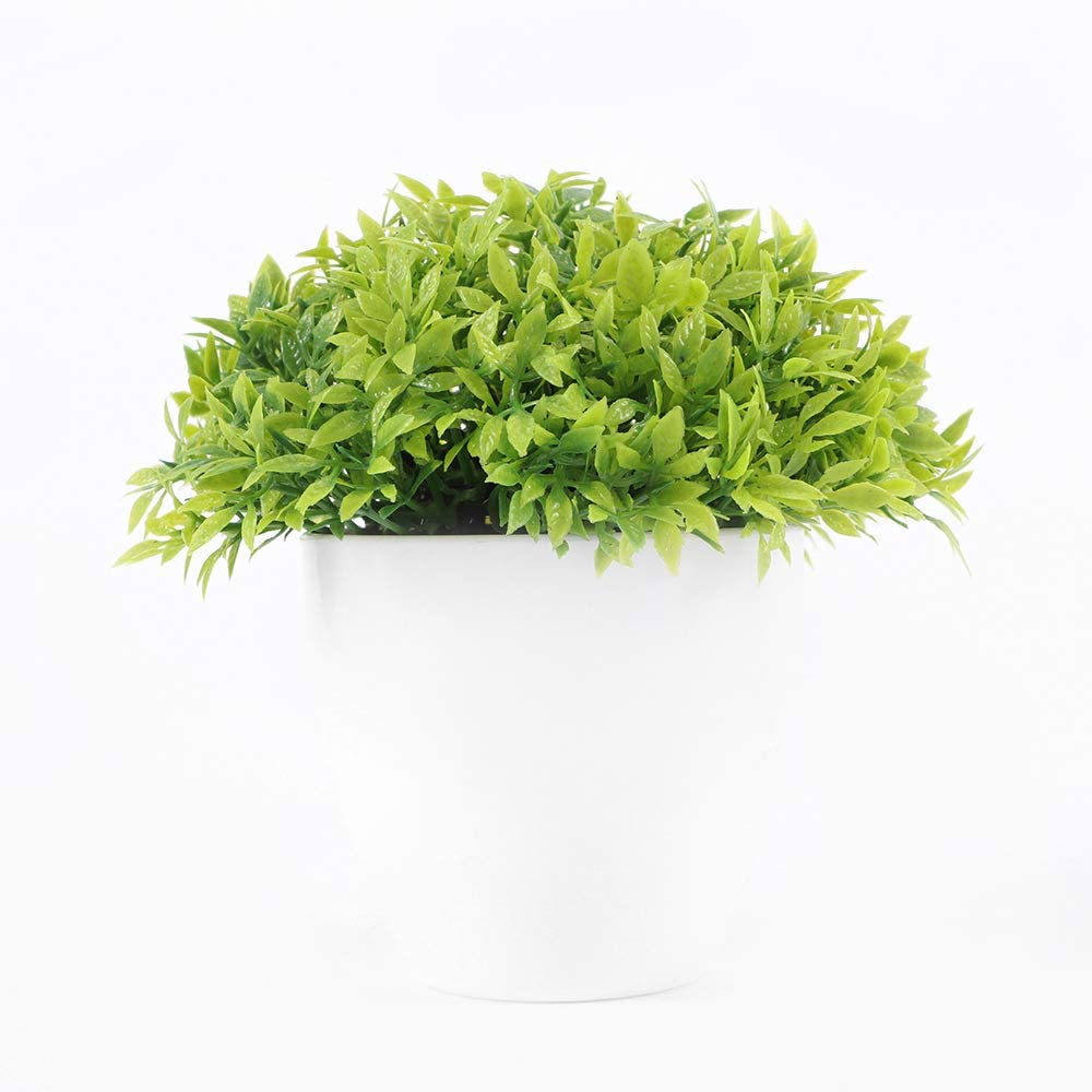 MAOMEI Artificial Mini Potted Plants Fresh Green Grass Flower Unique Fake Plants Indoor and Outdoor for Room Office Decoration