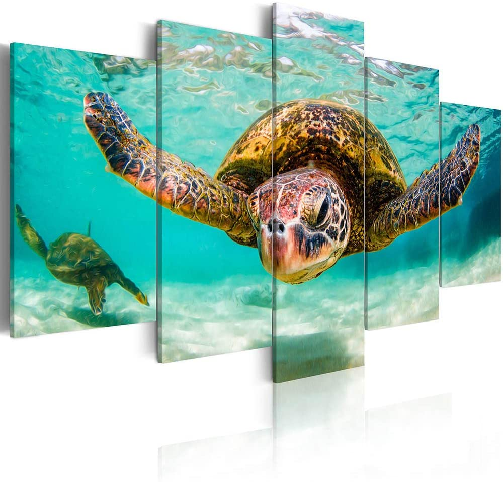 ArtHome520 Blue Sea Ocean Wall Art Home Decor Green Aniaml Sea Turtle Canvas Print Picture for Lving Room Fashion Framed 5 Panel Modern Artwork (16''x24''x2+16''x32''x2+16''x40''x1)