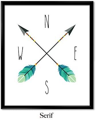 Serif Design Studios Nursery Print, Nautical Decor Arrow Compass Wall Art Print, Quote Poster, Art Print, Wall Art - Small (8.5x11 in)