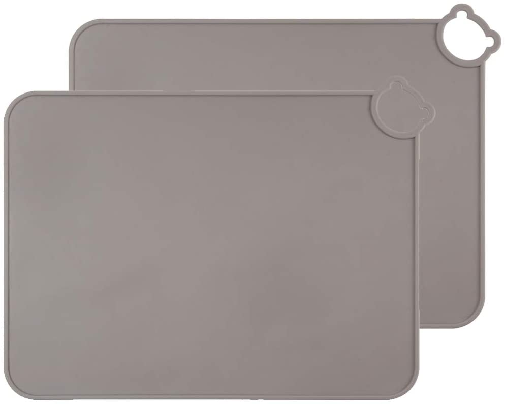ME.FAN Silicone Placemats for Kids Baby Toddlers Non-Slip | Tablemats Stain Resistant Anti-Skid Reusable Dishwasher Safe Table Mats | Portable Food Mat Travel Set of 2 (2 Set-Gary)