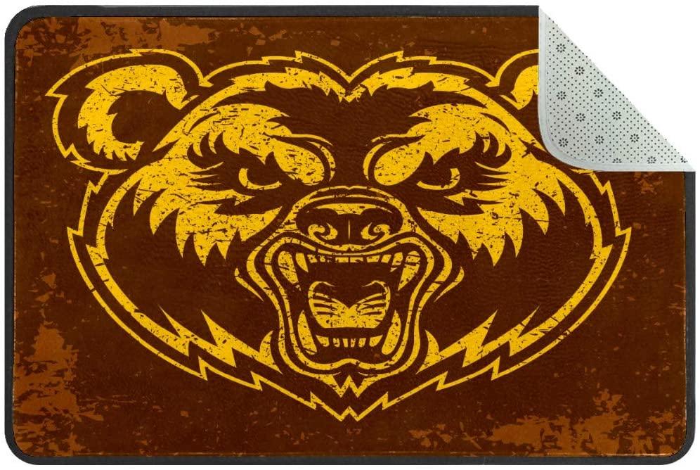 Bear Angry Face Cartoon Doormat Rug Easy to Clean Non Slip Backing Entry Way Doormat Floor Mat for Patio Front Door Entry Garage Kitchen Bathroom Laundry Room All Weather Indoor/Outdoor