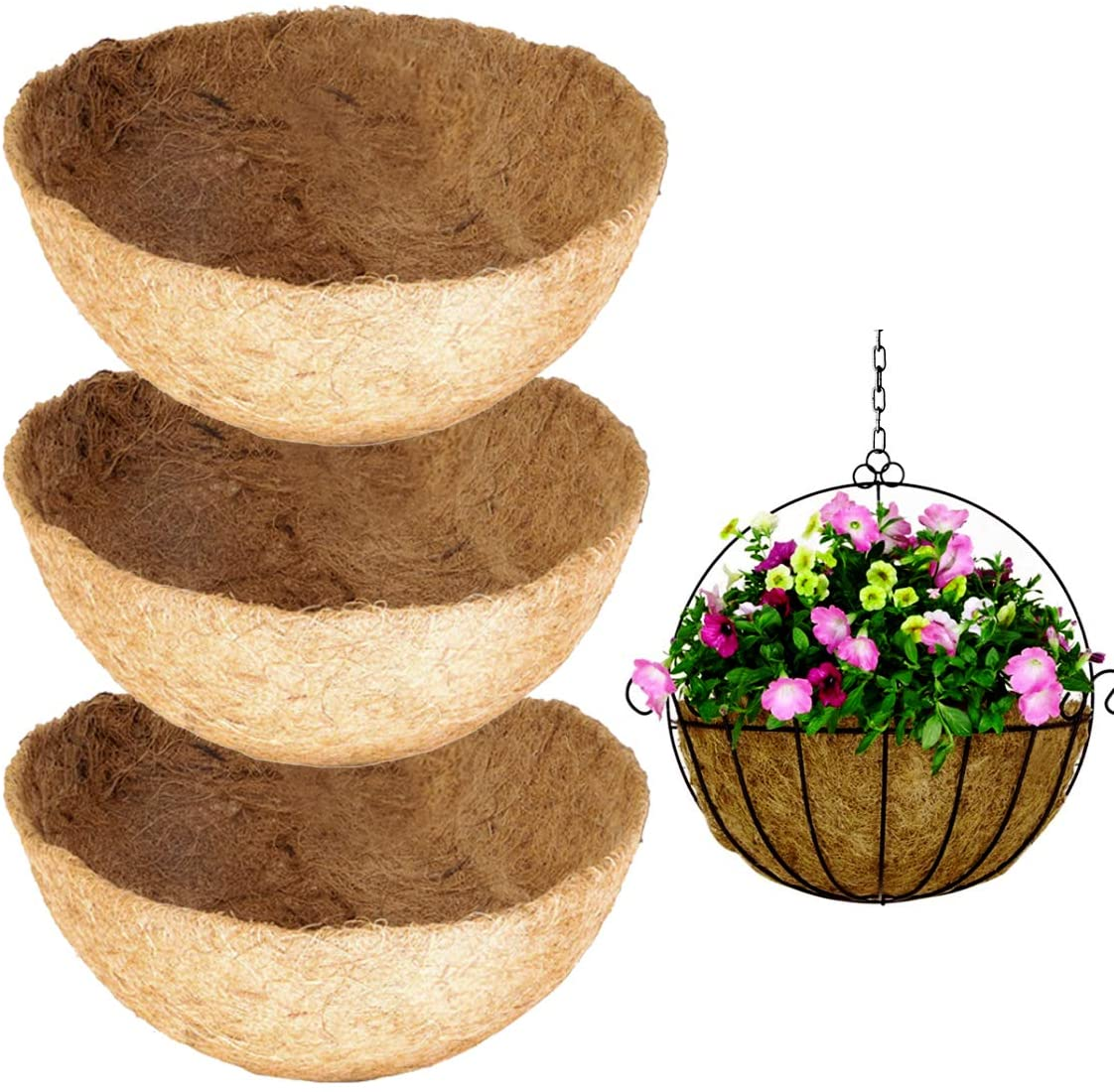 Owevvin 3 Pack Round Replacement Coco Liner, 10 Inches Coconut Fiber Plant Basket Liner for Hanging Basket, Garden Planter Flower Pot (12 Inches)