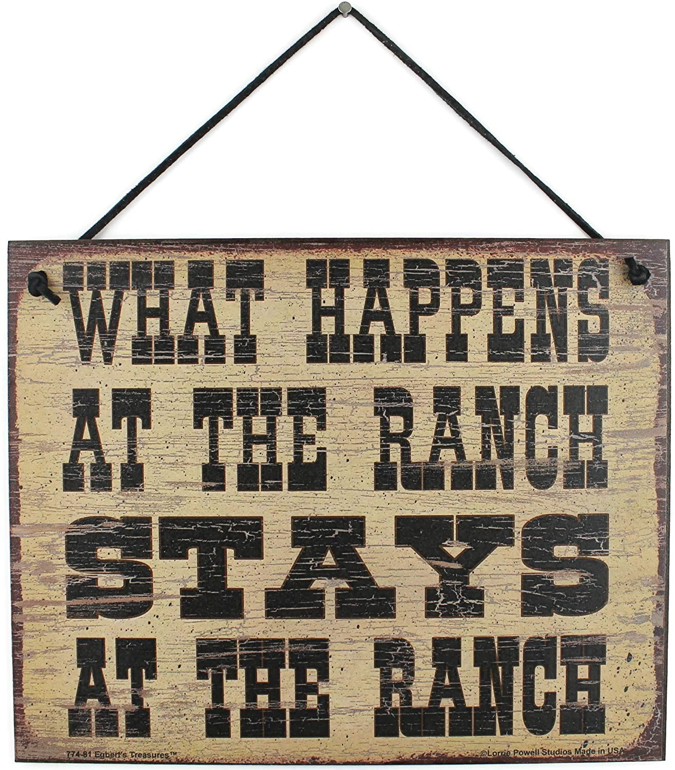 Egbert's Treasures 8x10 Vintage Style Sign Saying, What Happens at The Ranch Stays at The Ranch Decorative Fun Universal Household Signs