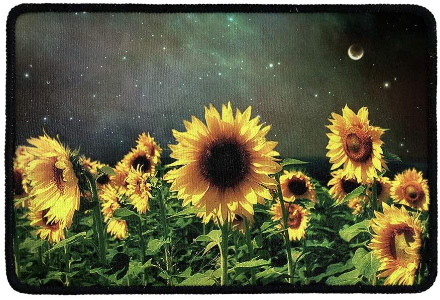Amzbeauty Sunflower Field Print Doormats Absorbs Entry Door Mat, Inside Durable Welcome Mats Entrance Rug