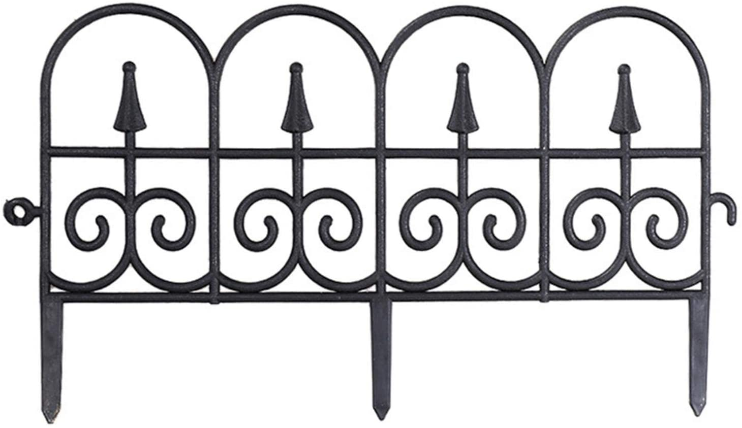 Xiaoling 5 Packs Decorative Garden Fence, 24 Inch Panels Outdoor Coated Metal Rustproof Landscape Wrought Iron Wire Border Folding Patio Barrier Fence Ornamental for Patio Landscape Flower Bed
