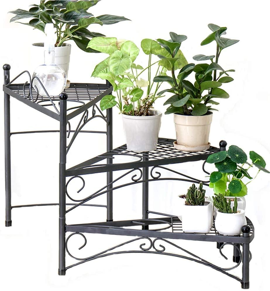 Flower Pot Stand Plant Stand Flower Rack Stand Flower Pot Display Stand-Wrought Iron Living Room Balcony Corner Frame Three-Tier Flower Stand LEBAO (Color : Black)