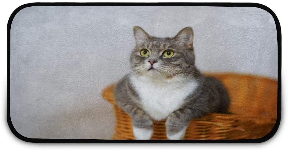 White Gray Cat Woven Basket Doormat Rug Easy to Clean Non Slip Backing Entry Way Doormat Floor Mat for Patio Front Door Entry Garage Kitchen Bathroom Laundry Room All Weather Indoor/Outdoor