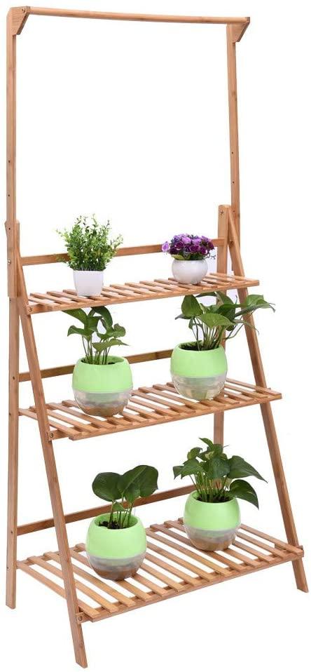 3 Tier Bamboo Hanging Plant Stand Rack Multiple Flower Pot Holder Shelf Indoor Outdoor Planter Display Shelving Unit for Patio Garden Corner Balcony Living Room (3 Tier)