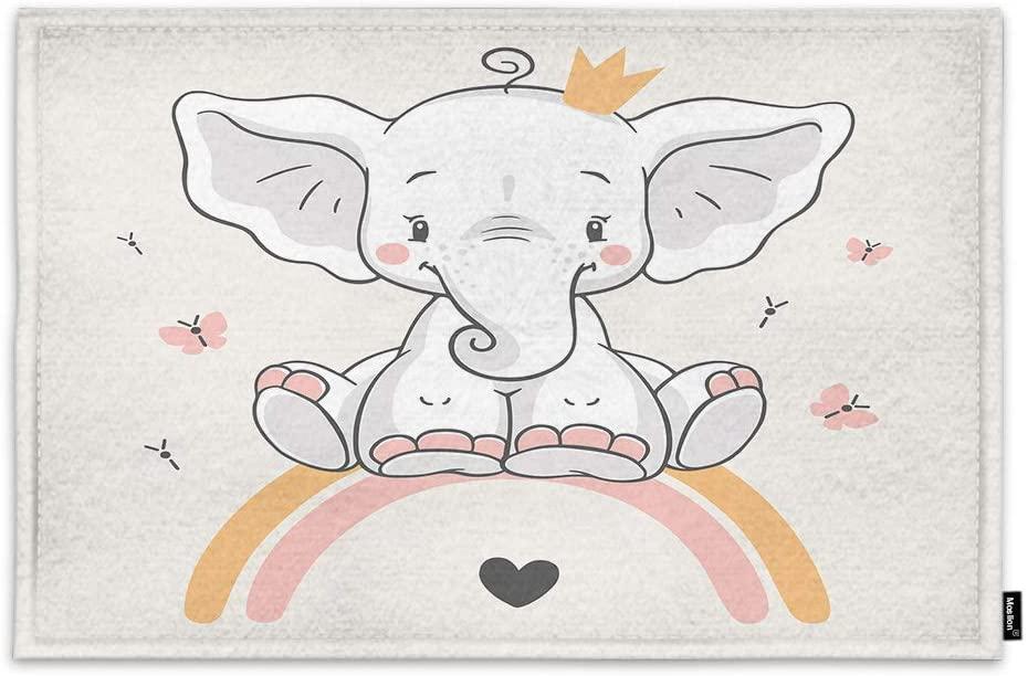 Moslion Little Elephant Door Mat Cartoon Cute Animals Butterflies Rainbow Crown Heart Fashion Non Slip Funny Doormat for Outdoor Indoor Decor Entry Rug Kitchen Bedroom Mat 15.7 x 23.6 Inch