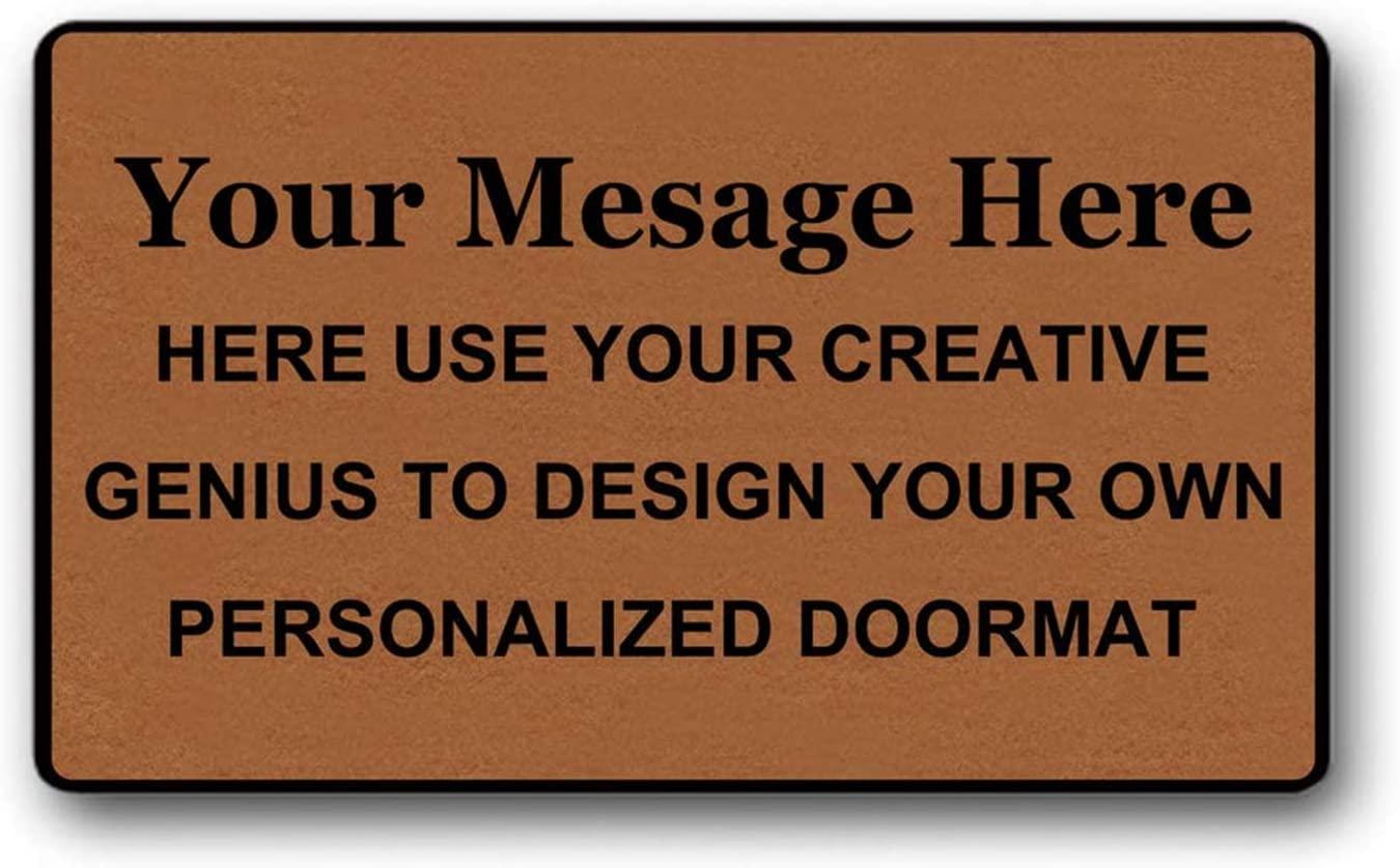 BOBOLU Personalized Custom Doormat Add Your Message Create Design Your Own Indoor Outdoor Welcome Mat Non Slip Decor Funny Floor Door Mat Area Rug Doormat Room Sign