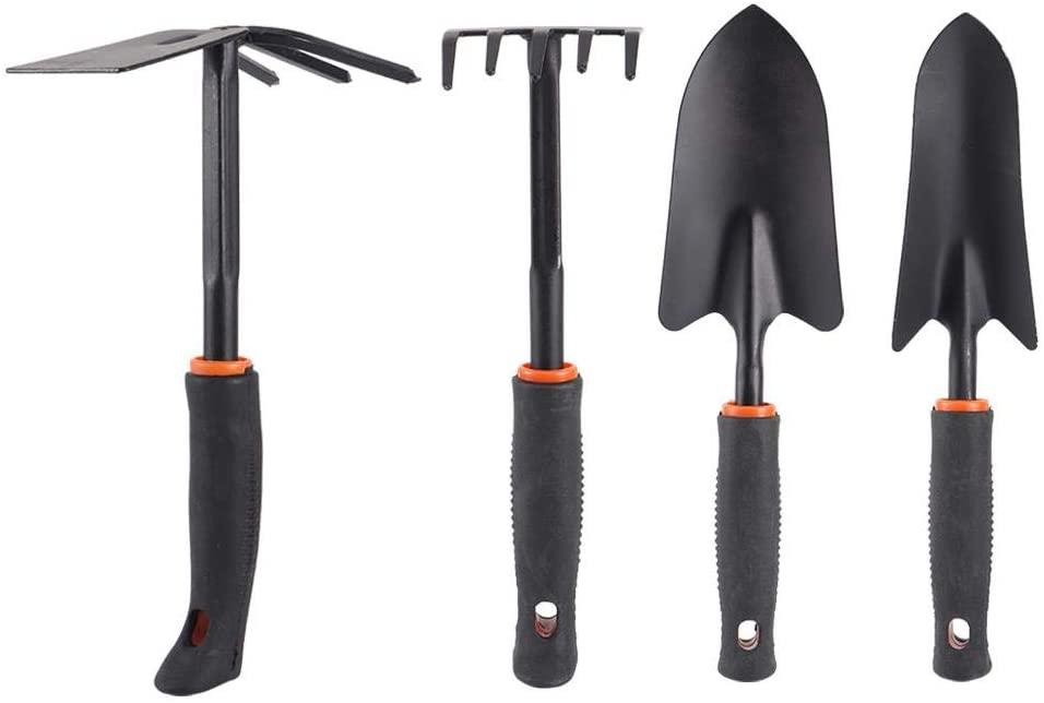 Garden Tools Set, 4Pcs Thickened Gardening Tools with Narrow Shovel, Wide Shovel, Rake and Dual Use Rake, Outdoor Hand Tools, Garden Kits for Adults