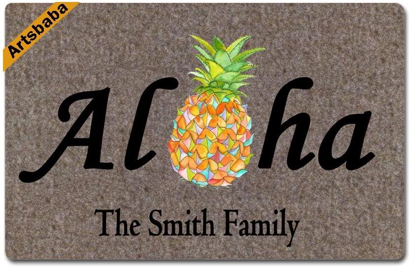 Artsbaba Welcome Doormat Aloha Pineapple Door Mat Monogram Non-Slip Doormat Non-Woven Fabric Floor Mat Indoor Entrance Rug Decor Mat 23.6 x 15.7 Inches