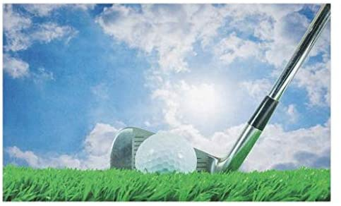 Lunarable Sports Doormat, Golf Ball and Iron Club on Grass and Cloudy Sky Sunny Summer Day Practicing, Decorative Polyester Floor Mat with Non-Skid Backing, 30