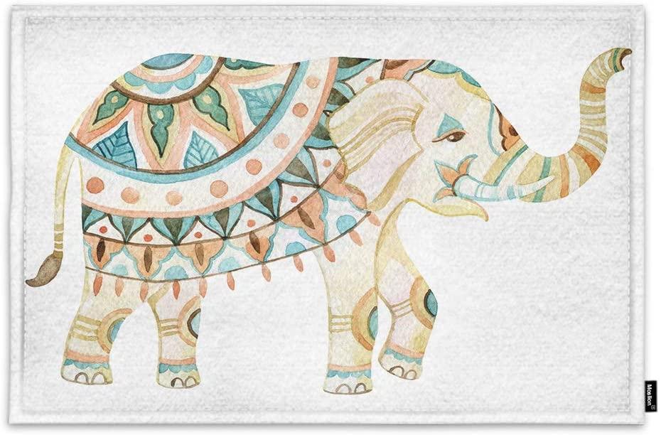 Moslion Boho Elephant Door Mat Watercolor Pastel Color Animal Bohemian Style Mandala Pattern Non Slip Funny Doormat for Outdoor Indoor Decor Entry Rug Kitchen Bedroom Mat 15.7 x 23.6 Inch